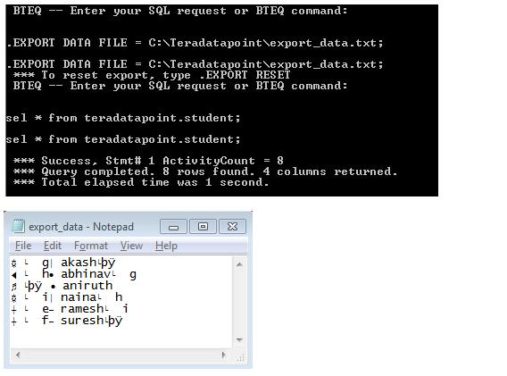 BTEQ export data mode